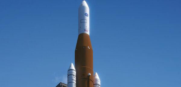 Nákladní mise SLS Block 1 s ICPS a krytem o průměru 5 metrů z Delty IV. Autor: Nathan Koga pro NSF/L2