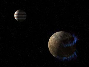Vizualizace polárních září na Ganymedu - v pozadí Jupiter.