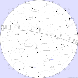 Mapka oblohy a dráha stanice pro přelet 24. května večer.