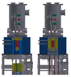 Schéma prototypu reaktoru Kilopower při experimentu KRUSTY. Žlutě je označen beryliovýreflektor neutronů, kterým lze ovládat výkon reaktoru. Vlevo je mimo aktivní zónu při vypnutíreaktoru, vpravo pak zasunut okolo aktivní zóny a při testech jeho plného výkonu s využitím řídící tyče kregulaci