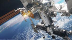 Nathaniel Koga přidává uměleckou představu lodi Cygnus zaparkované u ISS.