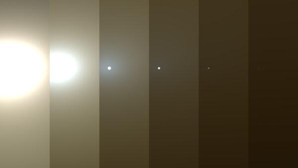 Simulace zobrazující jednotlivé stupně průhlednosti Marsovské atmosféry - od tau 1 úplně vlevo přes stupně 3, 5, 7, 9 až po tau 11 (úplně vpravo).