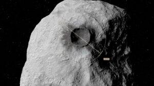 Vizualizace kráteru po sondě DART.