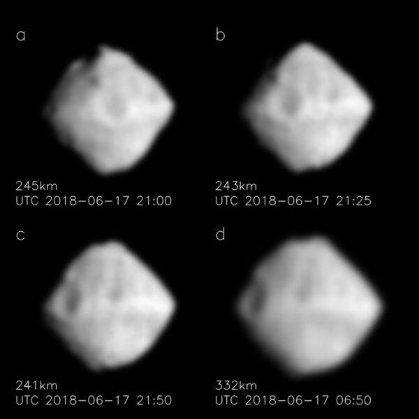 Začištěné snímky asteroidu Ryugu.