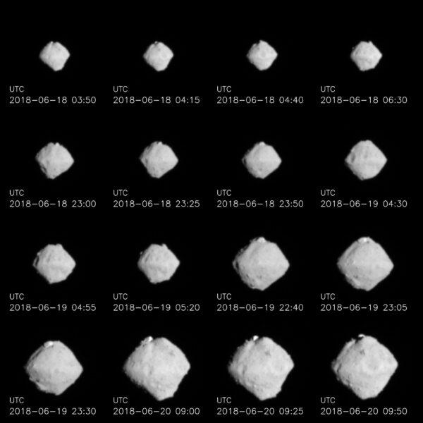Série snímků asteroidu Ryugu pořízená během přibližování. Vzdálenost cca. 220 - 100 kilometrů.