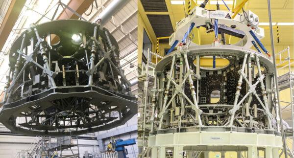 Struktura letového exempláře ESM-2. Vlevo ještě v Turíně, vpravo pak v Brémách.