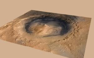 Kráter Gale s vyznačenou přistávací elipsou roveru Curiosity.