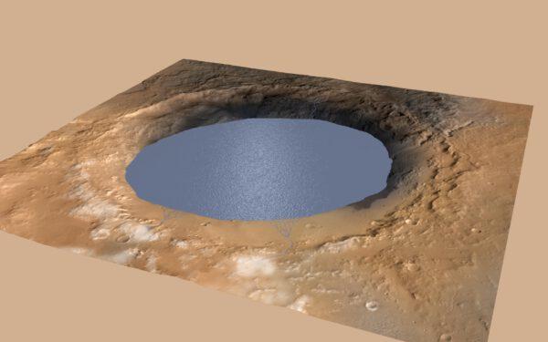 Kráter Gale byl v dávných dobách plný vody - bylo zde jezero.