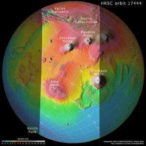 Topografická mapa Marsu s vyznačením snímané oblasti.