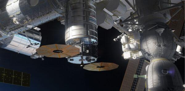 Na vizualizaci od Nathaniela Kogy je ve spodní části lodi Cygnus vidět hlavní motor, který posloužil k reboostu.