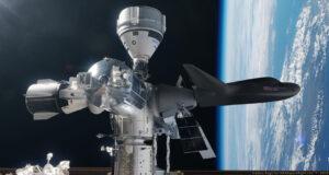 Nathaniel Koga ukázal, jak to třeba za pár let bude na ISS vypadat - kromě připojených pilotovaných lodí Crew Dragon a Starliner je u stanice připojený i nepilotovaný Dream chaser.