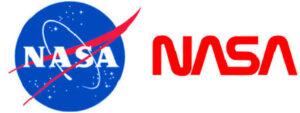 Loga NASA (historické od r. 1959 i současné - a logo v období let 1975 - 1992)
