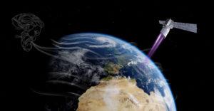Vizualizace družice Aeolus při studiu větrů.