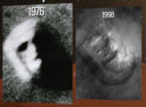 Známá tvář na snímku Vikingu a Mars Global Surveyoru. Foto: NASA