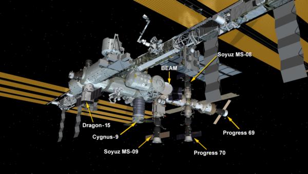 Stav lodí u ISS k 15. červenci