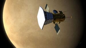 Parker Solar Probe při průletu kolem Venuše v představách umělce.