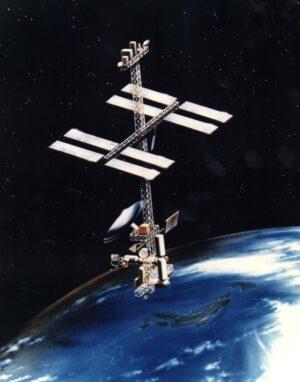 """Kosmická stanice Freedom měnila svoji zamýšlenou podobu prakticky každý rok: toto je původní podoba nazývaná """"věž"""" (Tower) z roku 1984"""