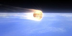Vizualizace návratové kabiny Dragonu při vstupu do atmosféry.