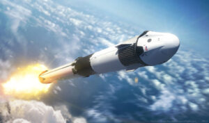 Crew Dragon na Falconu 9 Block 5 na vizualizaci od Nathaniela Kogy.