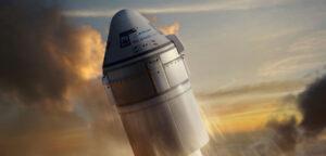 Starliner na Atlasu V ve vizualizaci od Nathaniela Kogy.
