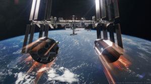 Starliner nebo Crew Dragon - kdo z nich vyhraje pomyslný závod o dopravu astronautů na ISS? Tento obrázek od Nathaniela Kogy je samozřejmě jen umělecká vizualizace s nadsázkou - reálně k podobné scéně nikdy nedojde.