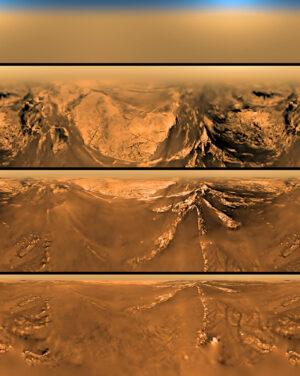 Scenérie Titanu z přistávající sondy Huygens