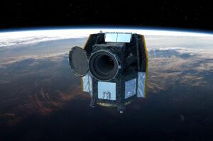 Vizualizace družice CHEOPS na oběžné dráze.