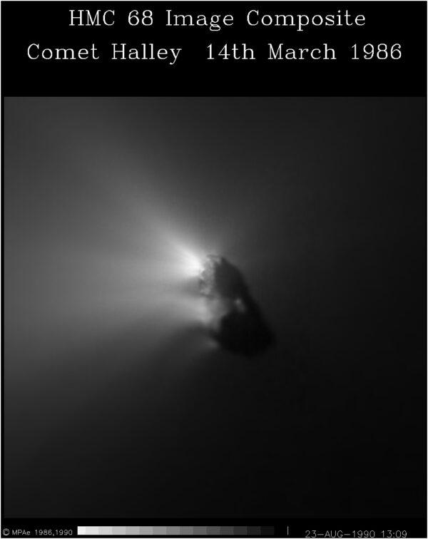 Kometa 1P/Halley ze sondy Giotto. Foto: ESA