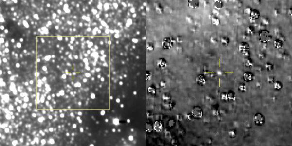 Složený snímek ze 48 expozic s délkou 30 sekund pořízených 16. srpna 2018. Vpravo je detailní výřez, který vznikl odečtením hvězdného pole s pomocí snímku, který sonda pořídila v září 2017.