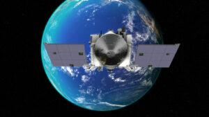 OSIRIS-REx ve vizualizaci při průletu kolem Země.