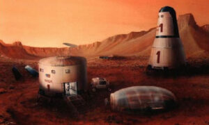 Kresba Roberta Zubrina ukazuje představu marsovské základny.