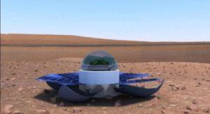Znovupoužitelný skleník pro pěstování špenátu na Marsu navržený v roce 2013 řeckými studenty.