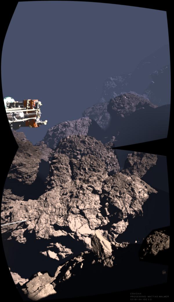 Výhled modulu Philae na povrch komety 67P
