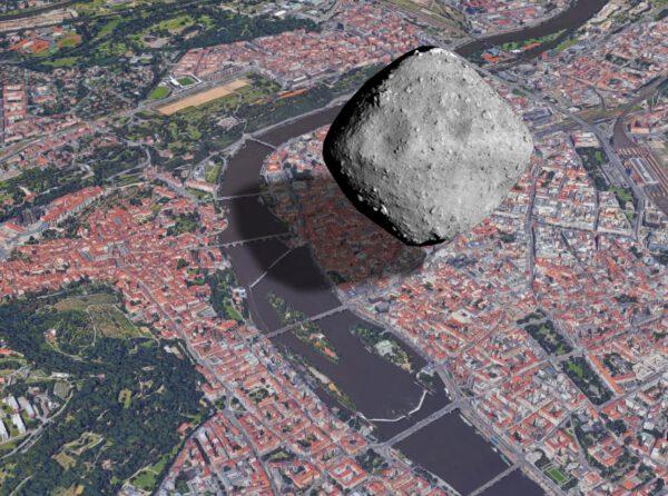 Porovnání planetky Ryugu a Prahy
