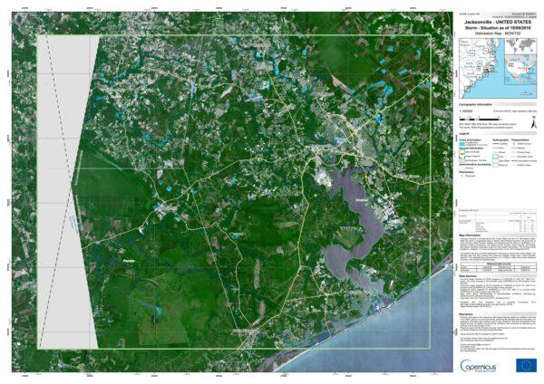 Mapa povodní z družice Sentinel 1