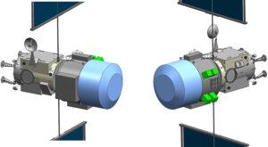 Vizualizace sestavy ESPRIT/Utilization Element spojené s modulem PPE - Americký Modul pro využívání je vyznačen modře.