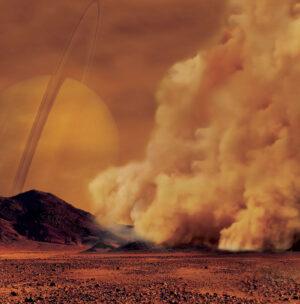 Umělecká představa prachové bouře v atmosféře Titanu.