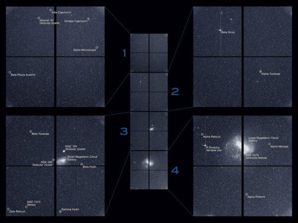 Pozorovací sektor teleskopu TESS ze 7. srpna 2018. Nepopsaný snímek najdete zde.