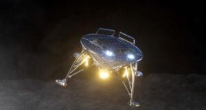Lander týmu SpaceIL přistává na Měsíci - zatím jen jako vizualizace.