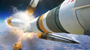 Vizualizace anomálie rakety Sojuz-FG při misi Sojuz MS-10.