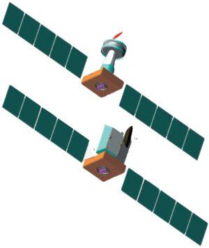 Zobrazení konfigurace BepiColombo, která počítala se dvěma starty na raketách Sojuz-Fregat. Horní sestava obsahuje dva přeletové moduly, MMO a MSE, dolní sestavu pak tvoří přeletové moduly a MPO.