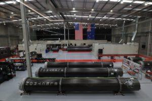 Výrobní linka raket Electron v Aucklandu.
