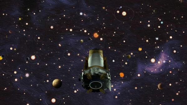 Ilustrace vytvořená k ukončení činnosti teleskopu Kepler.