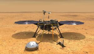Takto vypadá vizualizace sondy InSight na Marsu.