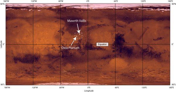 Umístění Oxia Planum na povrchu Marsu