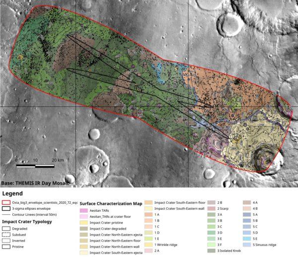 Detailní mapa oblasti Oxia Planum