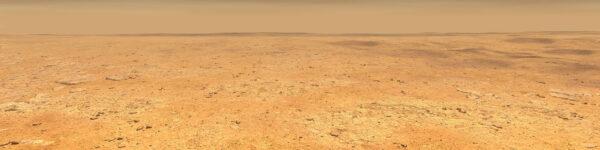Umělecká představa pohledu z povrchu lokality Elysium Planitia.