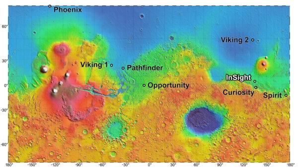 Dosavadní místa přistání amerických sond včetně místa, kam má dosednout InSight.