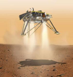 Umělecká představa přistání landeru InSight.