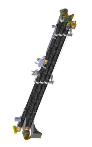 Vizualizace ramene MAG ve složené (startovní) konfiguraci.